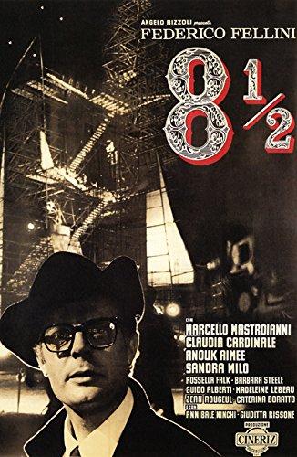 8 1/2 Movie Poster, Comedy, Drama, Federico Fellini, 1960's, Italy