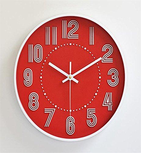 Sucastle® 12 in el plastico Reloj de Pared 3D con Números Adhesivos DIY Bricolaje Moderno Decoración Adorno para Hogar Habitación Reloj de pared silencioso Reloj de Pared de Cuarzo Estilo