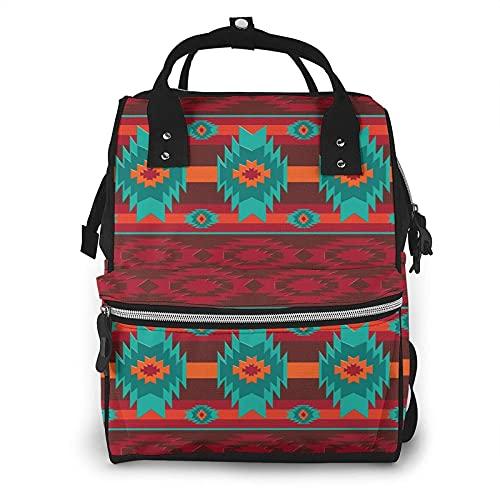 AOOEDM Colorful Southwest Southwestern Navajo Abstract Aztec Mochila grande para pañales, multifuncional Mochila impermeable para momias para mamás y papás