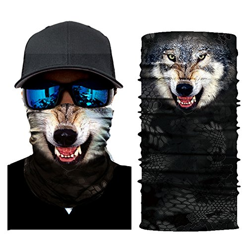 Colorful Damen/Herren Multifunktionstuch   Sturmmaske   Bandana   Schlauchtuch   Halstuch für Motorrad Fahrrad Ski Paintball Gamer Karneval Kostüm 3D Tiere Maske (F)