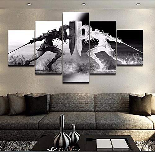 XLST Wall Art Vikings Pictures Home Decor 5 Unidades Legend of Zelda Canvas Canvas Living Room HD Impreso Juego de Dibujos Animados Poster,B,30x40x2+30x60x2+30x80x1
