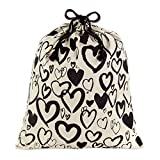 Hallmark 22' Extra Large Canvas Bag with Drawstring (Ivory with Black Hearts) for Valentines Day, Weddings, Bridal Showers, Anniversary and More