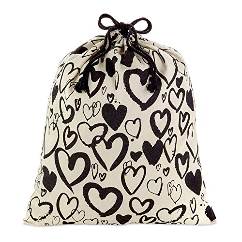 Hallmark 20' Extra Large Canvas Bag with Drawstring (Ivory with Black Hearts) for Valentines Day, Weddings, Bridal Showers, Anniversary and More