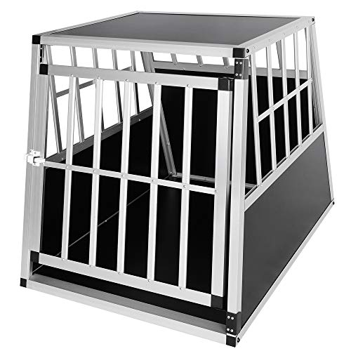ELIGHTRY Aluminium Hundebox Autobox Hundetransportbox 1 Türig Reisebox Schwarz