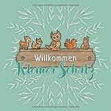Willkommen kleiner Schatz: Baby Shower Gästebuch für ca. 35 Einträge - Mit Fragen und viel Platz für Glückwünsche, liebe Grüße, Fotos uvm. - Schönes ... oder Pullerparty. - Design: Waldtiere Grün