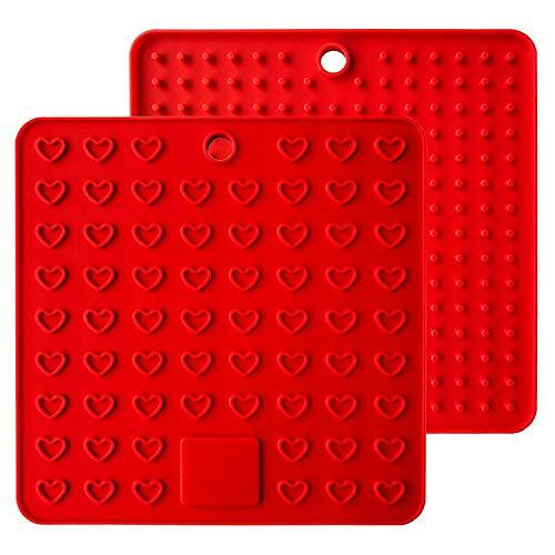 Baomasir 2 stuks silicone isolatiematten plaats voor levensmiddelen Honeycomb pannenlap antislip hittebestendige placemats voor Pot Pan Bowl Cup rood