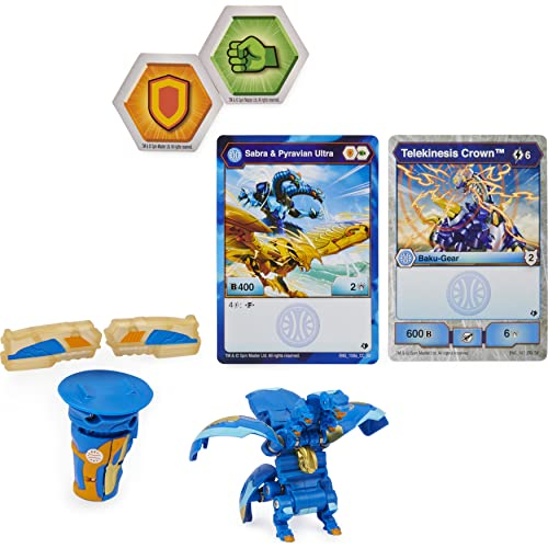 Bakugan Ultra, Fused Sabra x Pyravian with Transforming Baku-Gear, Armored Alliance 3-inch Tall Collectible Action Figure