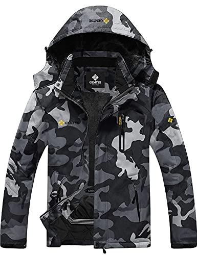 GEMYSE Chaqueta de Esquí Impermeable de Montaña para Hombre Abrigo de Invierno de Lana Antiviento con Capucha (Camuflaje 01,L)