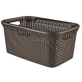 CURVER | Panier à linge 45L – Aspect rotin, Chocolat, Laundry Hampers & Baskets, 59,2x38x27 cm