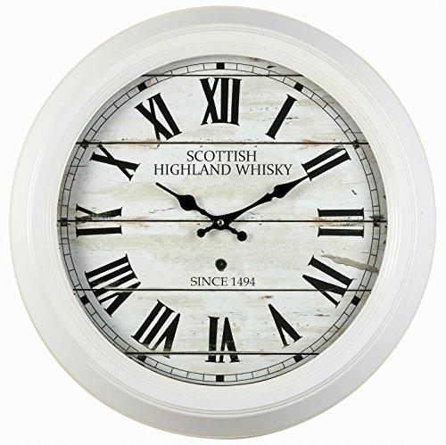 Ceanothe 17015 Scottish Horloge Métal Blanc 47 cm