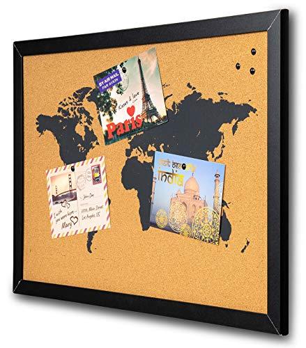 levandeo Pinnwand Gerahmt Holzrahmen 40x60 Kork Pinnadeln Schwarz Weltkarte Map Korkplatte Korkpinnwand Pinboard Postkarten Wanddeko