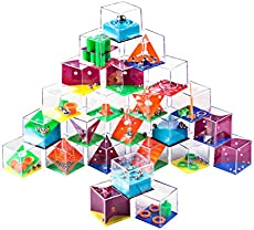 FenglinTech Brain Teasers, 24PCS IQ Maze Puzzle Boxes Set, Assembly Disentanglement Puzzles for Adult