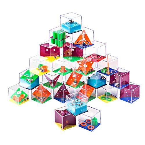 BOROK 24St. Balance Labyrinth Spiel Maze Puzzle Box Irrgarten Mitgebsel Knobelspiele IQ Spiele Set 3D Puzzle Geduldspiele als Adventskalender Inhalt für Kinder und Erwachsene