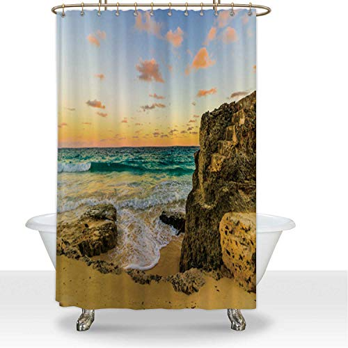 ALUONI Shower Curtainsd and Rock Formations on The Most Amazing Beach in Bermuda Polyester Fabric Shower Curtain Shower Curtain Liner,for Hotel,60''W x 72''H