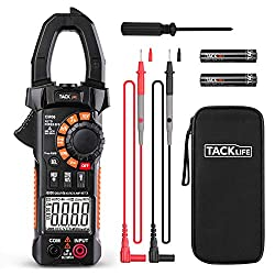 Clamp Meter Amp meter Digital Multimeter 6000 Counts with NCV Auto-Ranging Testing AC/DC Current&Voltage, Continuity Electrical Tester, Diode, Resistance, Capacitance, Frequency- Tacklife