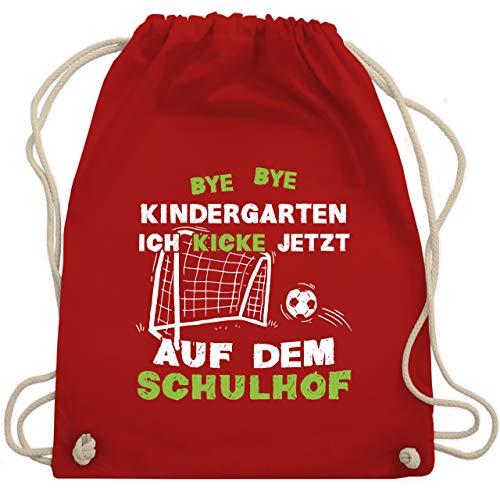 Shirtracer Einschulung und Schulanfang Geschenk - Bye Bye Kindergarten Einschulung Fußball - Unisize - Rot - einschulung - WM110 - Turnbeutel und Stoffbeutel aus Baumwolle