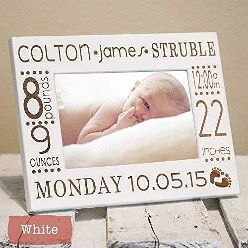 Personalized Birth Announcement Picture Frame with Stats - Newborn Baby Picture...