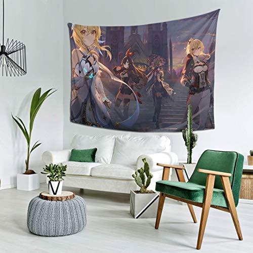 Genshin Impact Jean Lisa Lumine Tapiz para colgar en la pared, decoración del hogar, telón de fondo de TV, sala de estar, dormitorio, cama de 156 x 222 cm