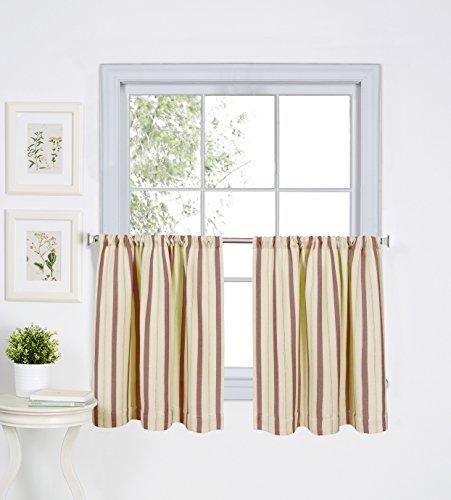 Elrene Home Fashions 26865775655 Rod Pocket Stripe Kitchen/Café Tier Window Curtain, Set of 2, 30' x 36', Spice