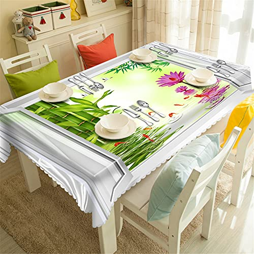 YGHBKL Wealthy Bamboo and Small Fish Lotus 3D Tablecloth Polyester Rectangular Tablecloth Picnic Fabric Main Decoration Round Diameter 150 cm