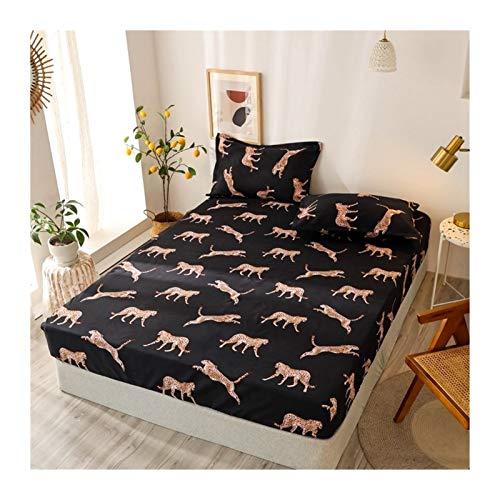 Juego de edredón King Tamaño Ropa de cama de lino Modelo grande Hoja de cama en forma de corazón-cama fijado for el colchón doble cubierta con elástico Sábana ( Color : Type 17 , Size : 90x200x25cm )