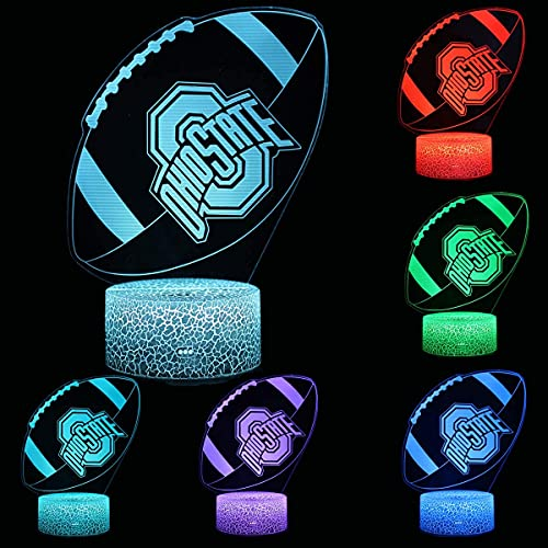 NCAA Ohio State Footbal Light University Team Logo Ventilador deportivo 7 cambio de color decoración lámpara escritorio mesa 3D ilusión noche luz
