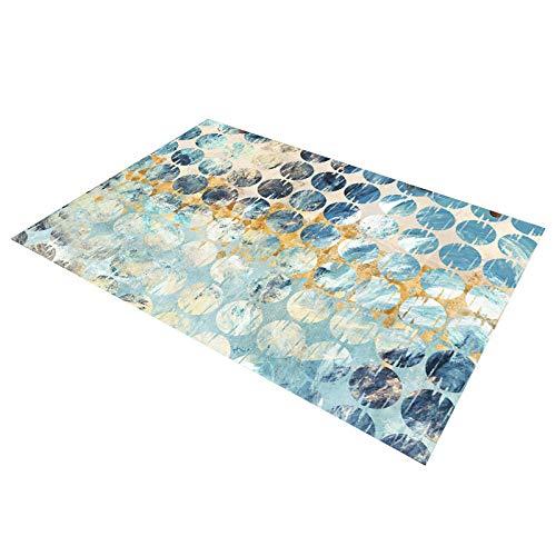 HXJHWB Tappeto Soggiorno Decorazione - La Stampa Geometrica Circolare a Gradiente Circolare Multicolore di Alta qualità per Interni contemporanei è Comoda e resistente-50 cm x 80 cm