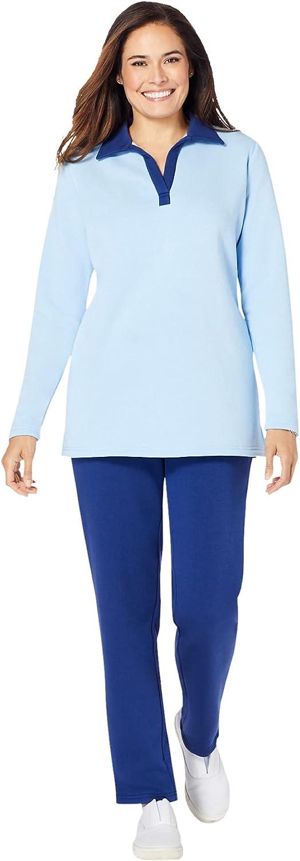 Woman Within Women's Plus Size 2-Piece Fleece Polo Set
