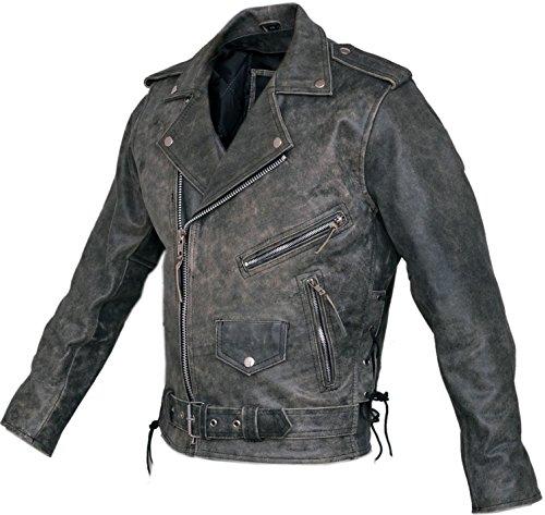 Marlon Brando Herren Stonewash Distressed Vintage Leder Jacke–Biker Leder Jacke–Klassische Motorrad Leder Jacke Gr. Large, Grau/Schwarz