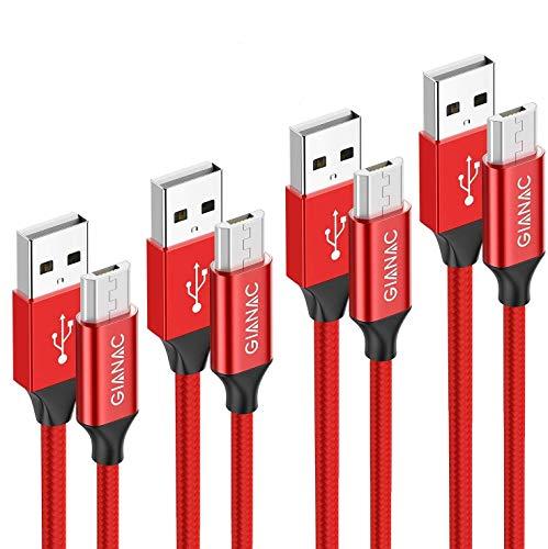 Cable Micro USB,4 Pack [0.5m+1m+2m+3m] Trenzado de Nylon Cable Carga Rápida y Sincronizació Compatible con Android, Samsung Galaxy S6 S7 J5 J7, Kindle, Sony, Nexus-Rojo