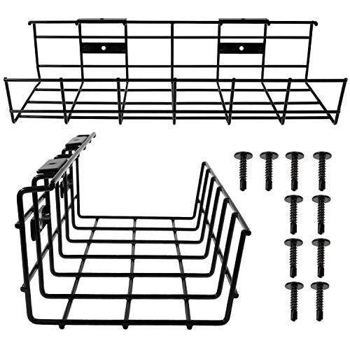 Kabel-Management-Ablage, 36 cm, Kabel-Organizer für Kabel-Management, Metall-Kabelablage für Schreibtische, Büros und Zuhause