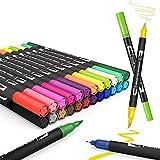 Juego de rotuladores con pincel para acuarela, 24 colores con dos puntas, rotuladores de punta fina, marcadores a base...
