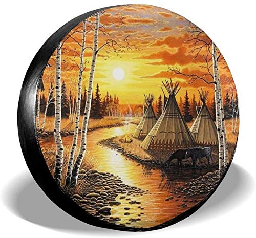 YANMEI Sunset Native American Spare Tire Cover, Universal Waterproof Wheel Tire Covers Fit for Truck Trailer RV SUV Vehicles