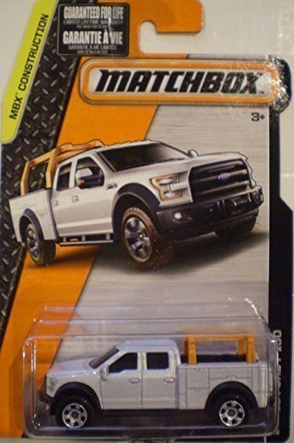 2015 Matchbox '15 White Ford F-150 Utility 4 Door Contractors Truck by Mattel