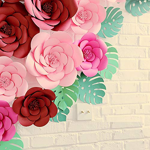 LG-Free 2pcs 8inch Paper Flower Backdrop Decoration Party Paper Flower Wedding Rose Flower Wall Backdrop DIY Paper Handmade Craft for Nursey,Baby Shower,Birthday,Home Decor (8inch, Rose Red)