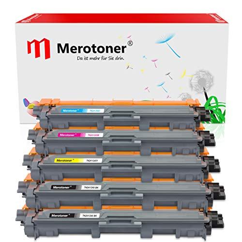 Merotoner 5 Multipack Tonerset kompatibel zu Brother TN-241-BK TN-245-C, Y, M DCP-9020CDW DCP-9022CDW MFC-9142CDN MFC-9342CDW MFC-9332CDW HL-3150CDW HL-3170CDW Farblaser-Multifunktionsdrucker