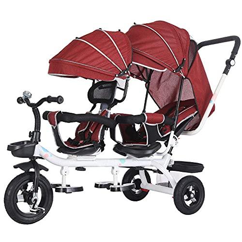 GST Triciclos Tricycle Children, Wheels de Titanio Vacíos Tandem Bicycle High Carbon Acero Marco Twin Trolley 1-7 años de Edad Bebé Triciclo, D (Color : A)