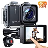 APEMAN A100 Touch Screen Real 4K/50FPS Action Camera WiFi 20MP Waterproof Camera Underwater 40M with EIS Remote Control and 2x1350mAh Batteries, for Yutube/Vlog Videos