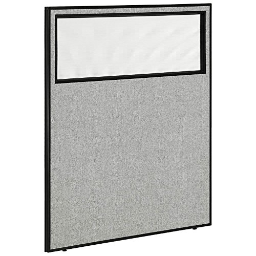 48-1/4W x 60H Office Partition Panel with Partial Window, Gray