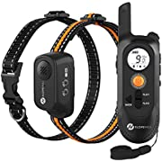 Slopehill Dog Training Collar with Voice Commands, Beep, Vibration and Shock Modes, Rechargeable Waterproof Dog Shock Collar with 1000Ft Remote, Adjustable Shock Levels Electric Dog Collar Set