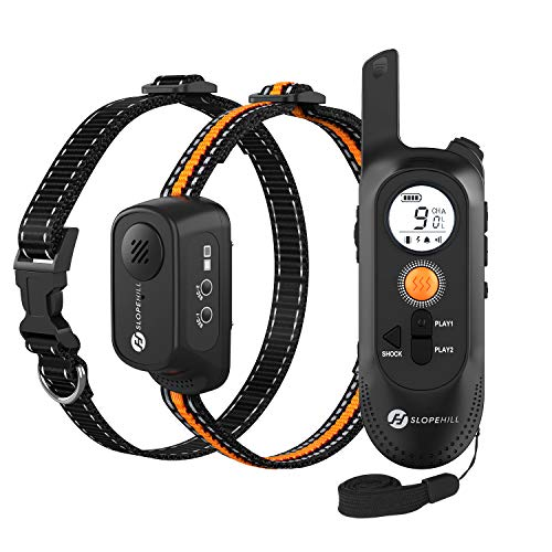 Slopehill Dog Shock Collar with Beep, Voice Recording, Vibration and Shock Modes, Rechargeable Waterproof Dog Training Collar with 1000Ft Remote, Adjustable Shock Levels Electric Dog Collar Set