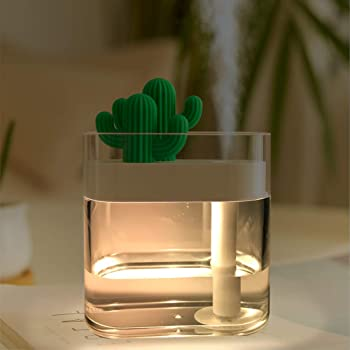 Details about Cactus Mini Cool Mist Humidifier with Night Light 280ml USB Portable Air Diffuse