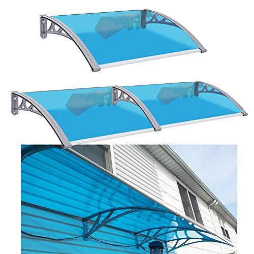 LRZLZY Azul Placa de policarbonato Refugio Ventana toldo de la Lluvia de Nieve Cubierta de Techo, Extend Ancho 60 / 80cm (Size : 120CM X 60CM)