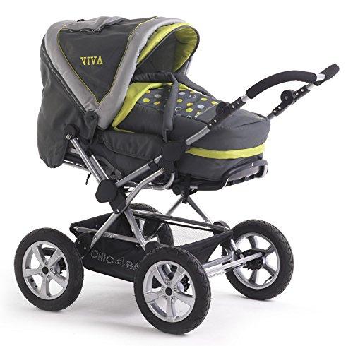 CHIC 4 BABY 100 A42 Viva Poussette combinée avec sac de transport et siège sport gris/citron