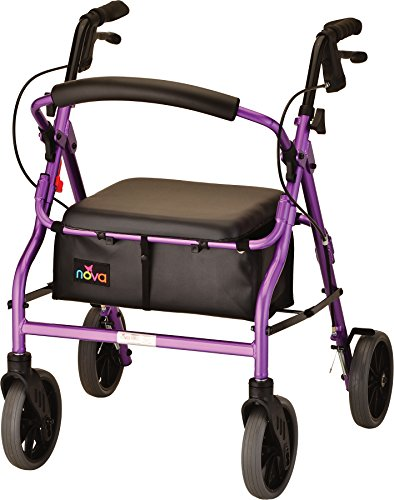 "NOVA Zoom Rollator Walker with 20"" Seat Height, Purple"