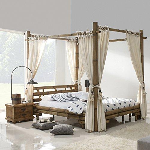 Möbel Bressmer Himmelbett Tabanan HonigAntik Liegefläche 180 x 200 Natur Holz | Bett mit Himmel