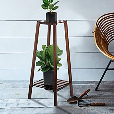 2-Tier Bamboo Tall Plant Stand,Flower Pots Hold...