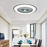 QJUZO Ventilatore a Soffitto Silenzioso con Luce e Telecomando, Moderni LED Plafoniera, App e Telecomando...