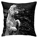 COVASA Throw Pillow Covers,White Tiger Art Print Background,Home Decor Soft Decorative Square Cushion Pillowcases for Couch Bedroom Sofa Chair,18x18 inch