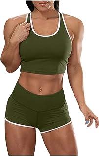 Vestito da donna a maniche corte con canotta e pantaloni corti da jogging